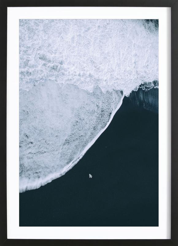 Black Beach -Bild mit Holzrahmen