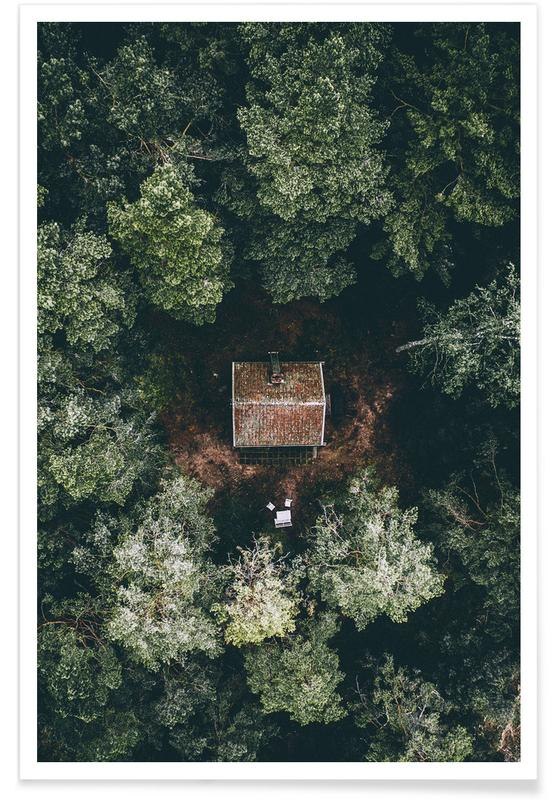 Forêts, Hutte cachée - Photo aérienne affiche