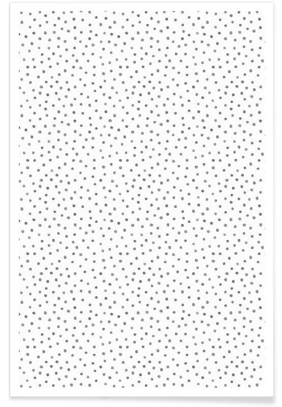 Noir & blanc, Motifs, Grey Watercolor Dots affiche