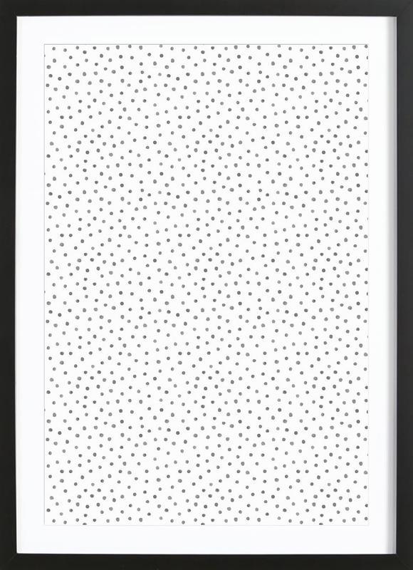 Grey Watercolor Dots Framed Print