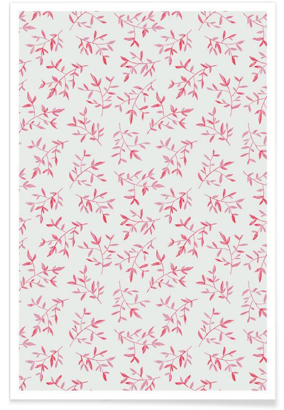 Feuilles & Plantes, Pink Leaves affiche