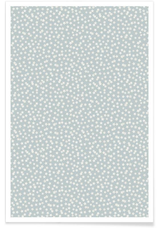 Kinderzimmer & Kunst für Kinder, Silver Stars Confetti -Poster