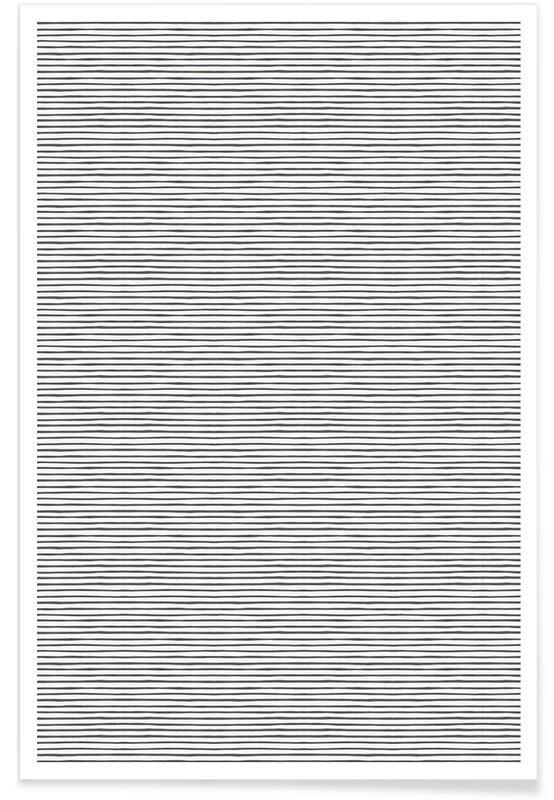 Schwarz & Weiß, Muster, Watercolor Stripes -Poster