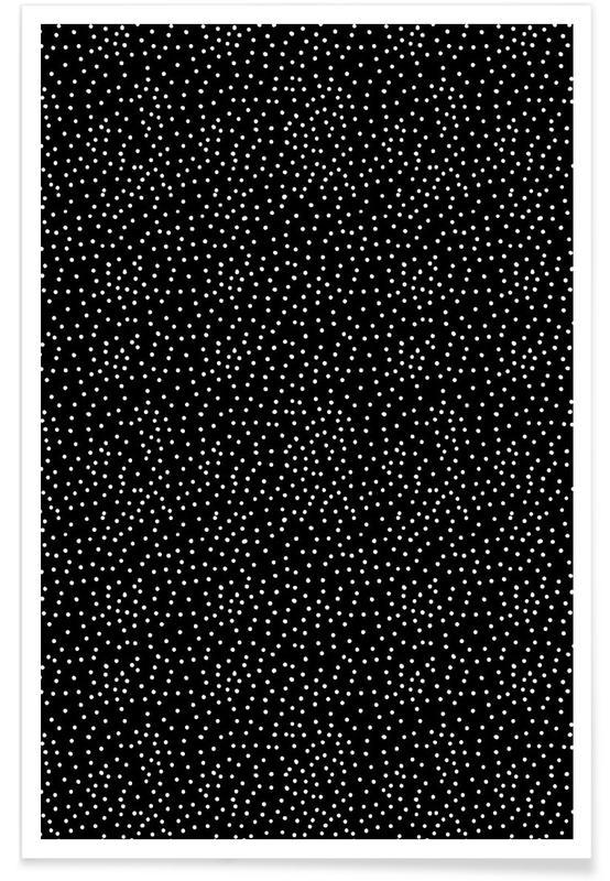Noir & blanc, Motifs, White Dots affiche
