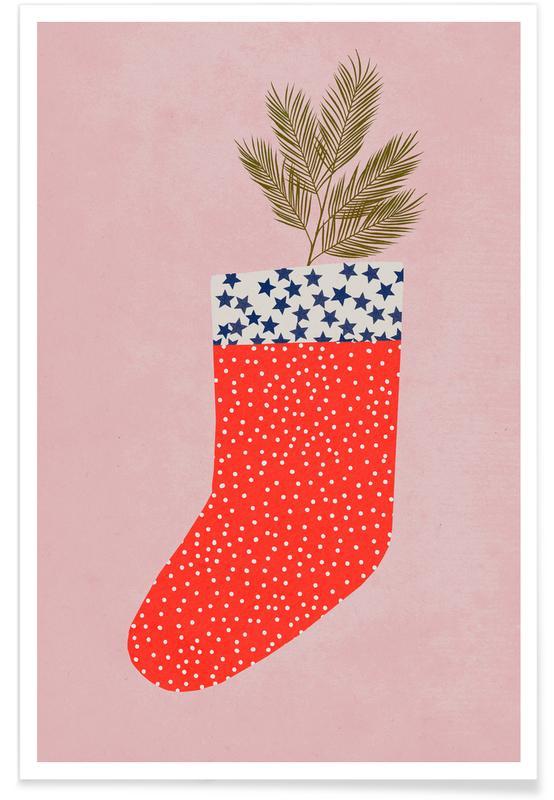 Noël, Art pour enfants, Chaussette de Noël affiche