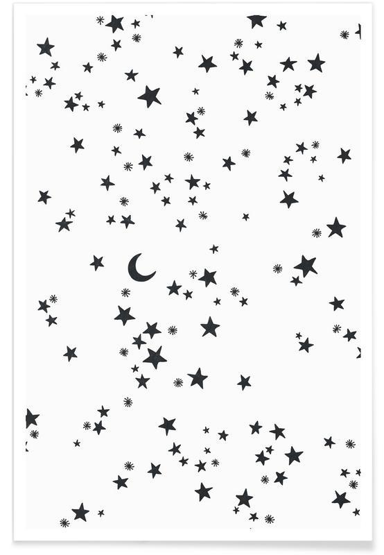 Noir & blanc, Art pour enfants, Sky affiche