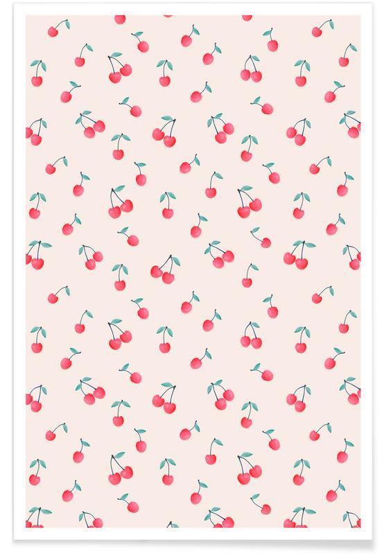 Baies, Motifs, Cherries affiche