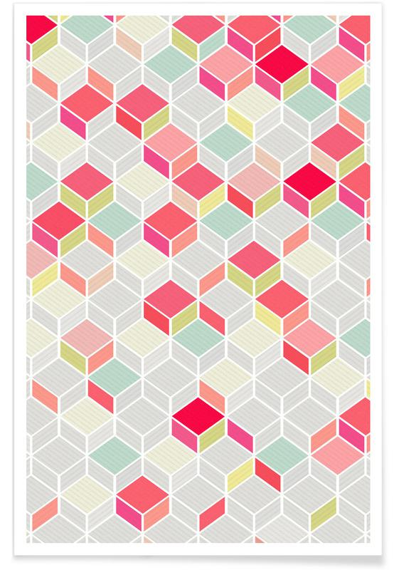 Muster, Cube Pink -Poster