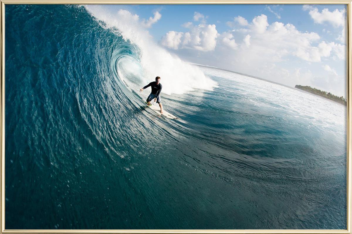 Maldives Surf Poster in Aluminium Frame