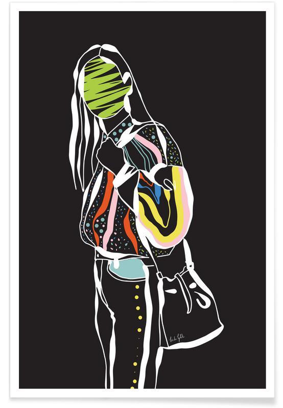 Mode-illustratie, Trendy Girl poster
