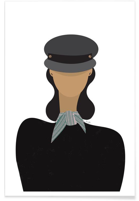 Mode-illustratie, Baker Boy Hat Girl poster