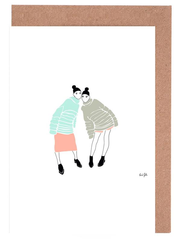 Fashion Illustrations, Besties Greeting Card Set