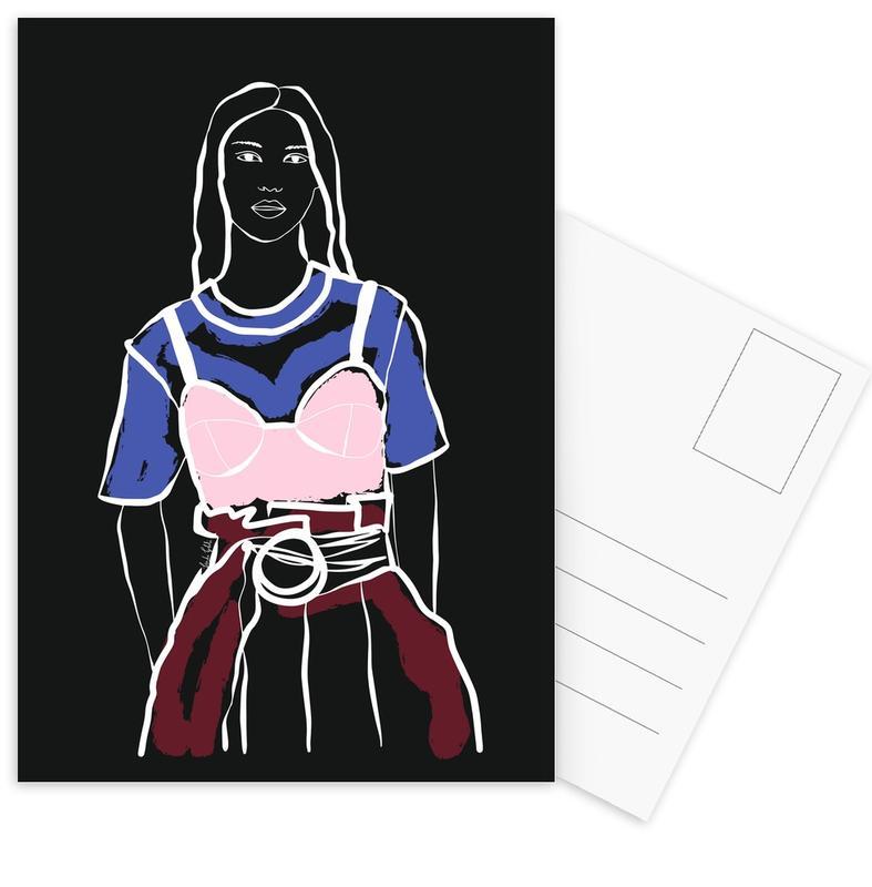 Mode-illustratie, Fashion Girl ansichtkaartenset