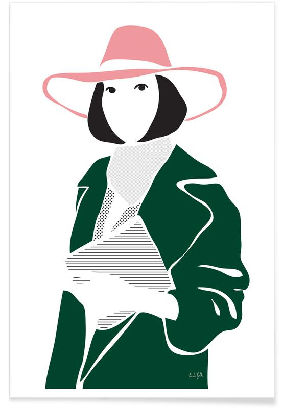 Mode-illustratie, Girl in a Hat poster