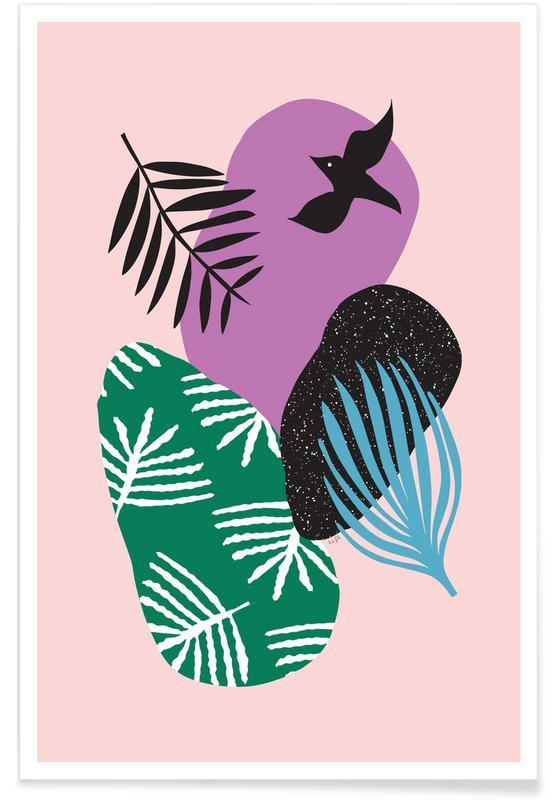 Tauben, Hochzeiten, Love Birds in Pink -Poster