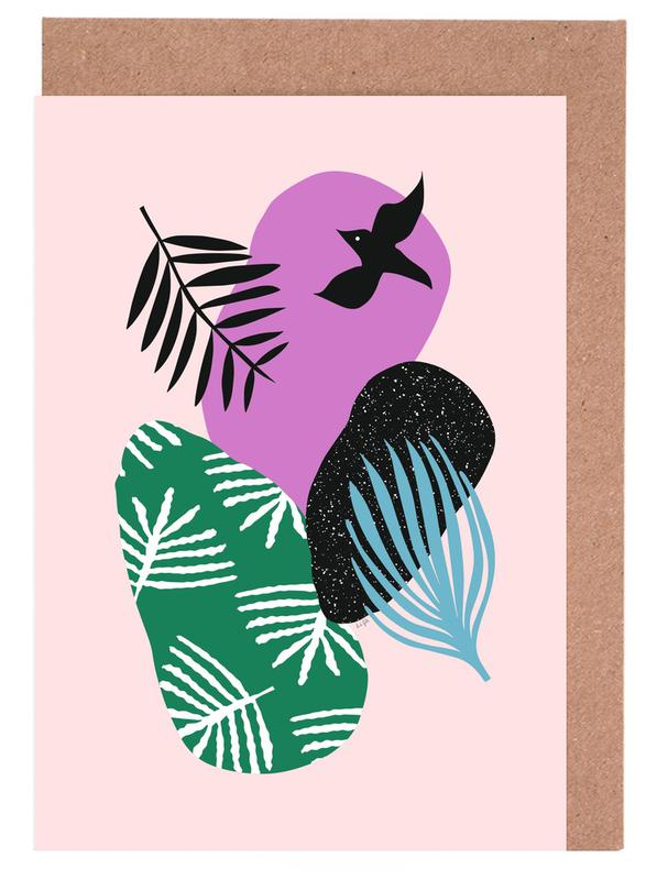 Love Birds in Pink Greeting Card Set