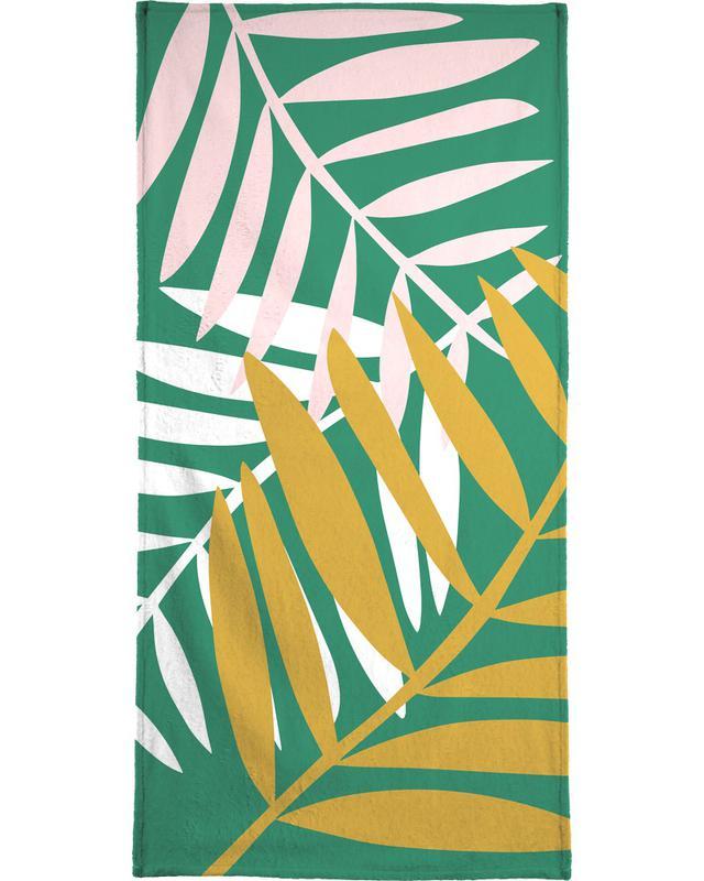 Palm Leaves in Green Beach Towel