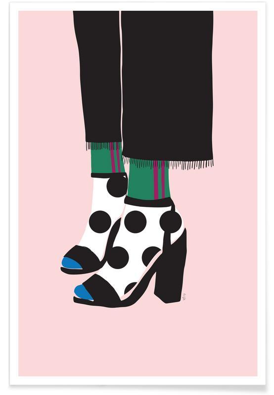 Polka Dot Socks in Heels -Poster