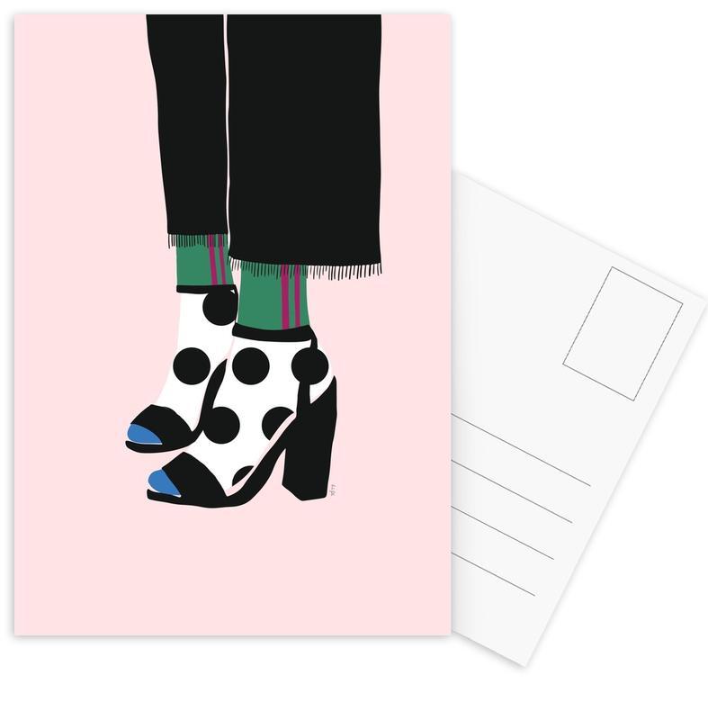 Polka Dot Socks in Heels Postcard Set