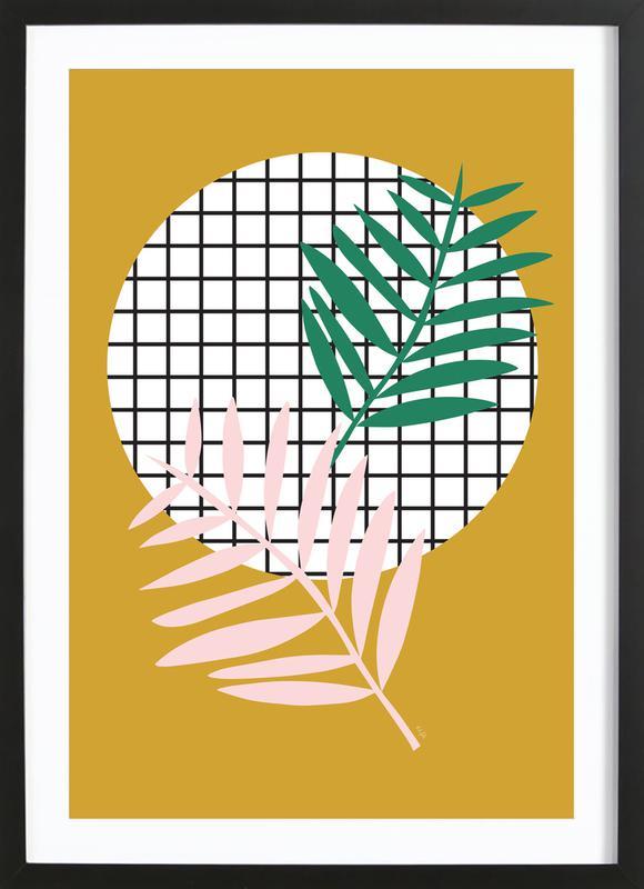 Palm Leaves in Mustard -Bild mit Holzrahmen
