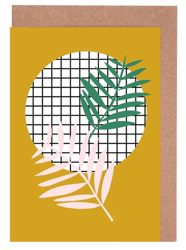 Blätter & Pflanzen, Palm Leaves in Mustard -Grußkarten-Set