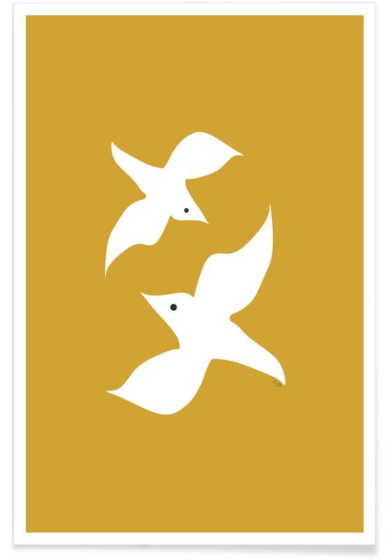 Colombes, Birds in Mustard affiche