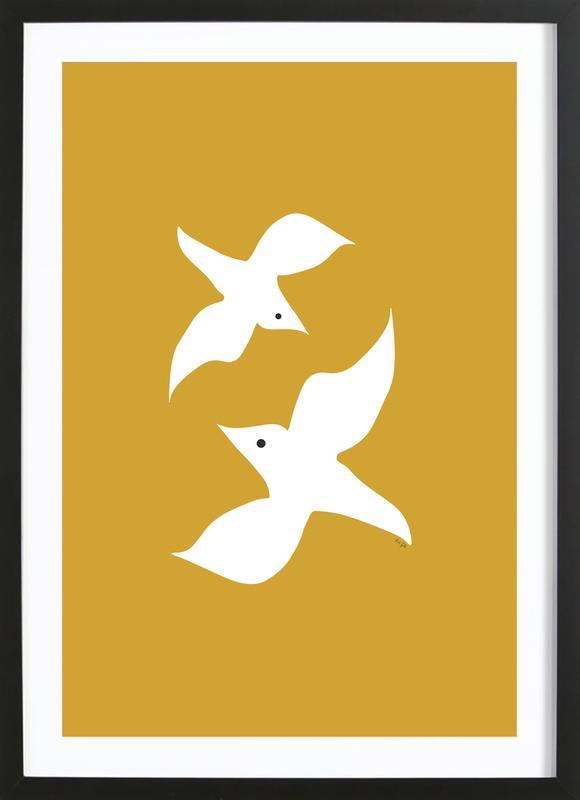 Birds in Mustard Framed Print