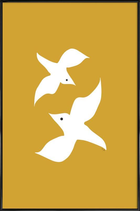 Birds in Mustard -Bild mit Kunststoffrahmen