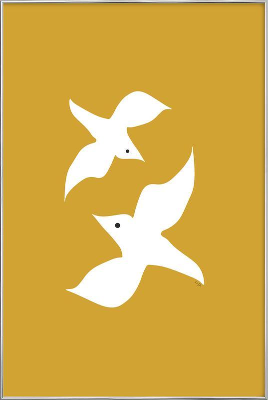 Birds in Mustard Poster in Aluminium Frame