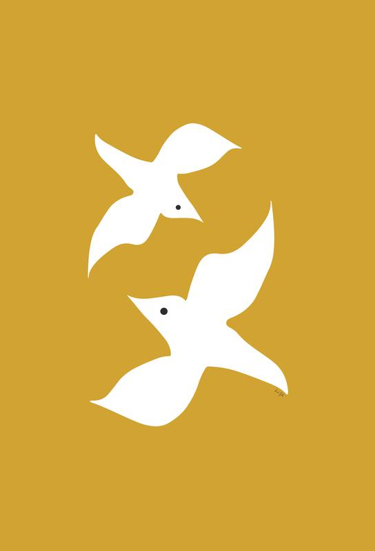 Birds in Mustard Aluminium Print