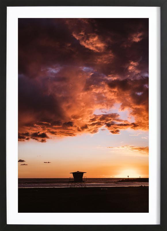 Pacific Sunset affiche sous cadre en bois