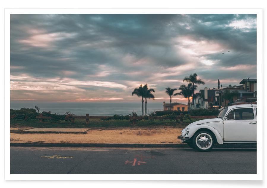 Oceanen, zeeën en meren, Stranden, Reizen, Auto's, White Beetle poster