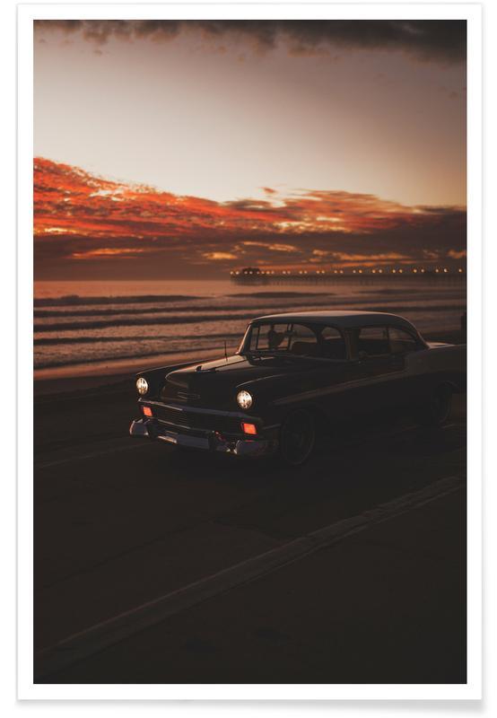 Ocean, Lake & Seascape, Vintage Travel, Beaches, Cars, Dusk Cruise Poster