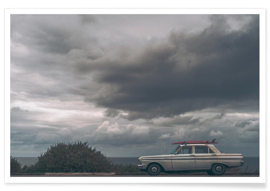 Ocean, Lake & Seascape, Beaches, Cars, Travel, Pink Board Poster