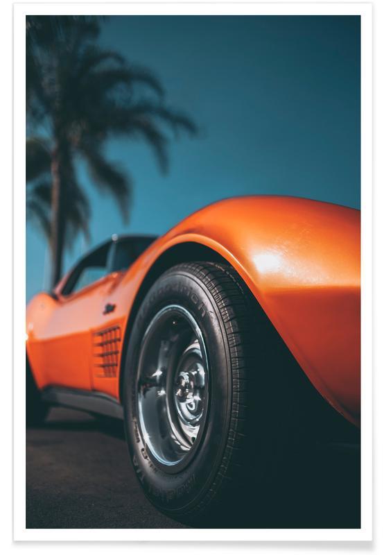 Ocean, Lake & Seascape, Beaches, Cars, Travel, Stingray Orange Poster
