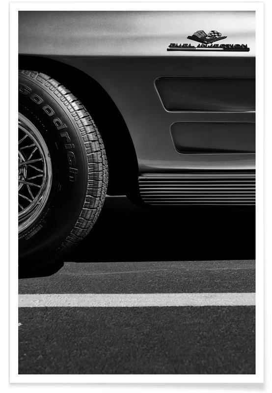 Noir & blanc, Voitures, Injection de carburant - Photographie affiche