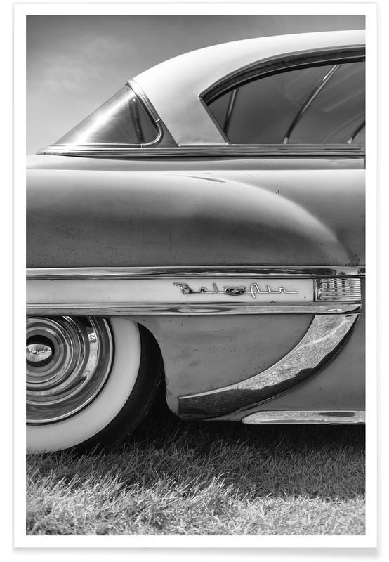 Zwart en wit, Auto's, Bel Air poster