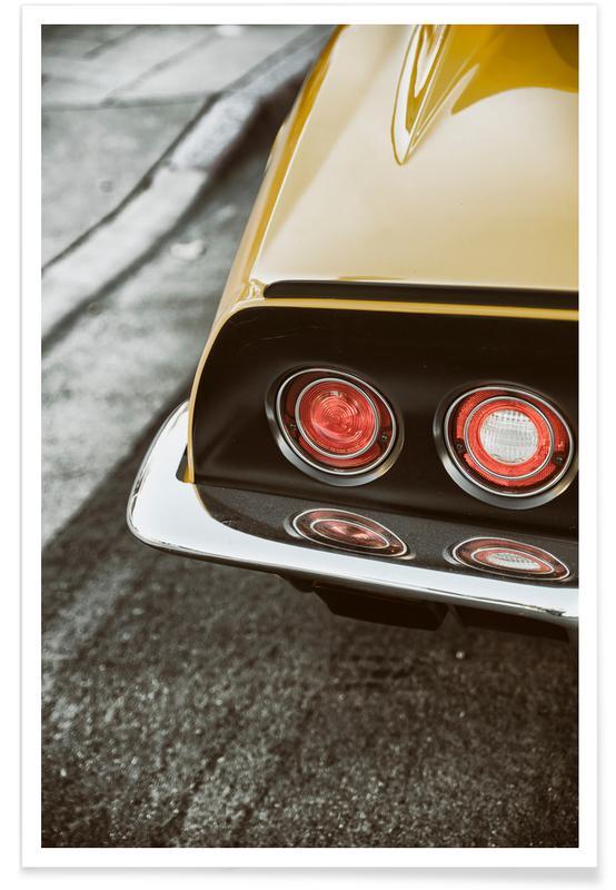 Voitures, Corvette jaune - Photographie affiche