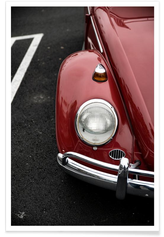 Autos, Red Beetle -Poster