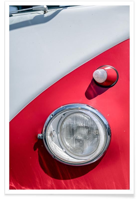 Océans, mers & lacs, Voitures, Volkswagen rouge et blanche - Photographie affiche