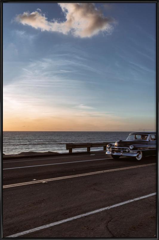 Cadillac Sunset Cruise I -Bild mit Kunststoffrahmen