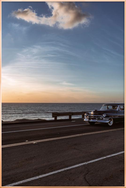 Cadillac Sunset Cruise I Poster in Aluminium Frame