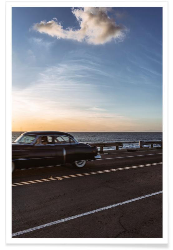 Voitures, Couchers de soleil, Cadillac Sunset Cruise II affiche