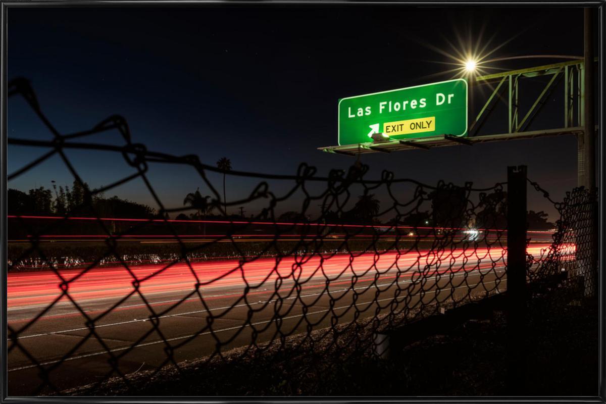 Interstate 5 Sunset -Bild mit Kunststoffrahmen