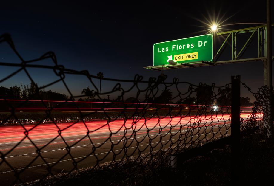Interstate 5 Sunset tableau en verre