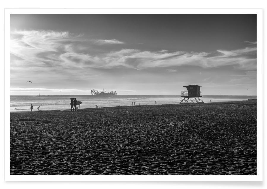 Sort & hvidt, Surfing, Strande, San Diego Surf Plakat
