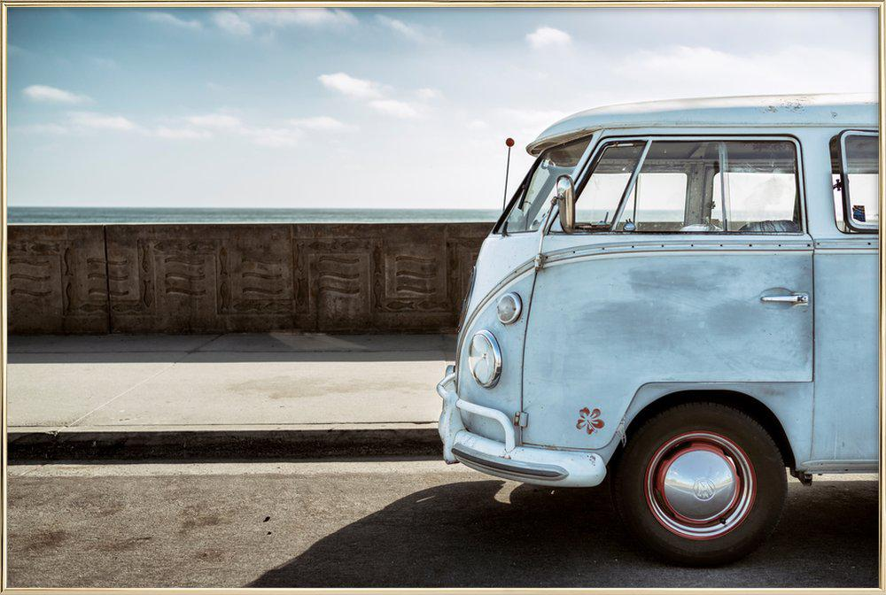 Wolfsburg Surf Blue Horizon Poster in Aluminium Frame