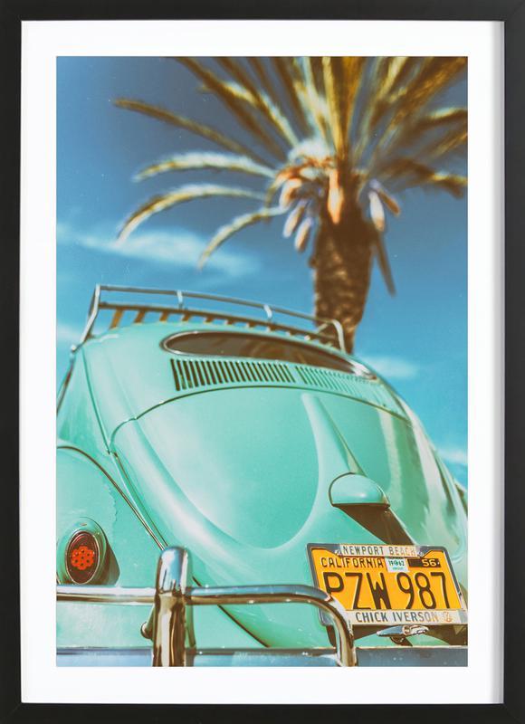 California Turquoise affiche sous cadre en bois