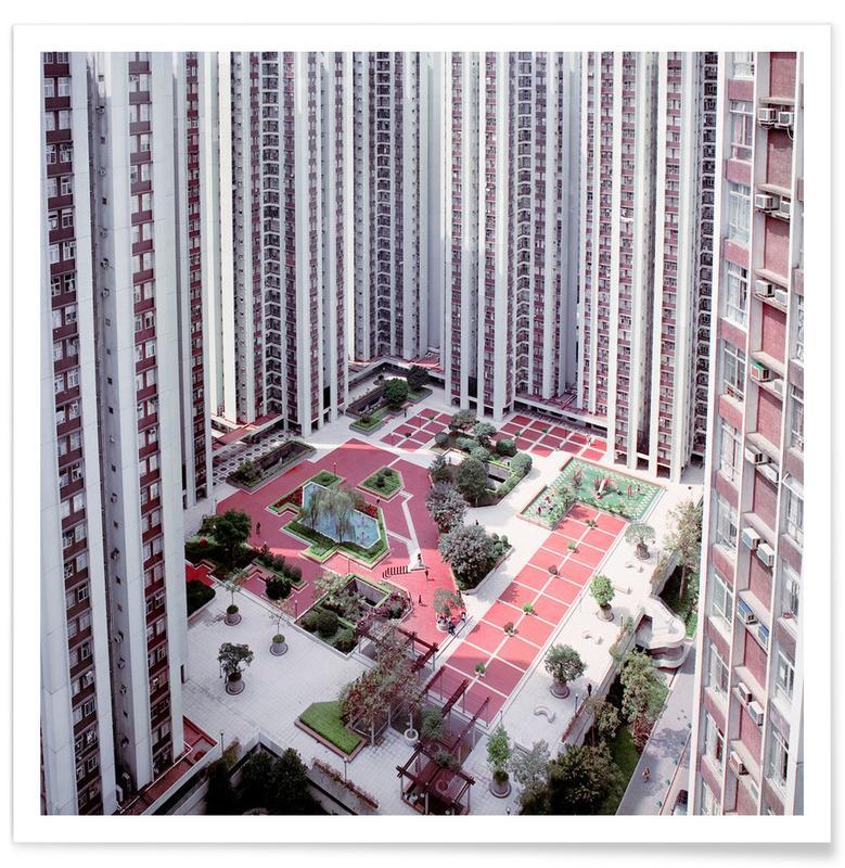 Wolkenkrabbers, Hongkong, Hong Kong Buildings Courtyard poster