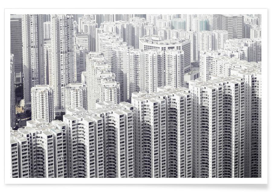 Black & White, Hong Kong, Skyscrapers & High-Rises, Hong Kong Poster